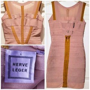 Herve Leger pink dress
